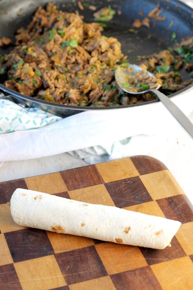 Rolled up tortillas with brisket filling