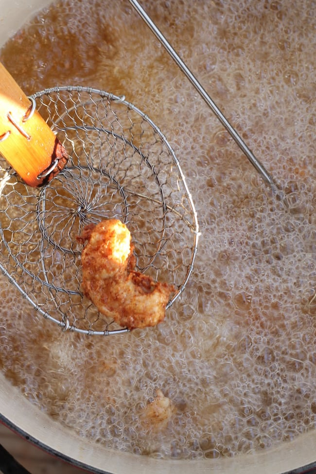 Deep Fried Shrimp hot out of the oil