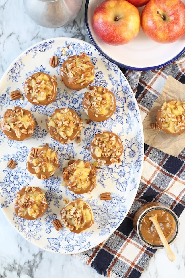 Platter of Caramel Apple Mini Cheesecakes topped with Pecans