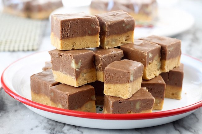 Easy Chocolate Fudge with butterscotch and walnuts
