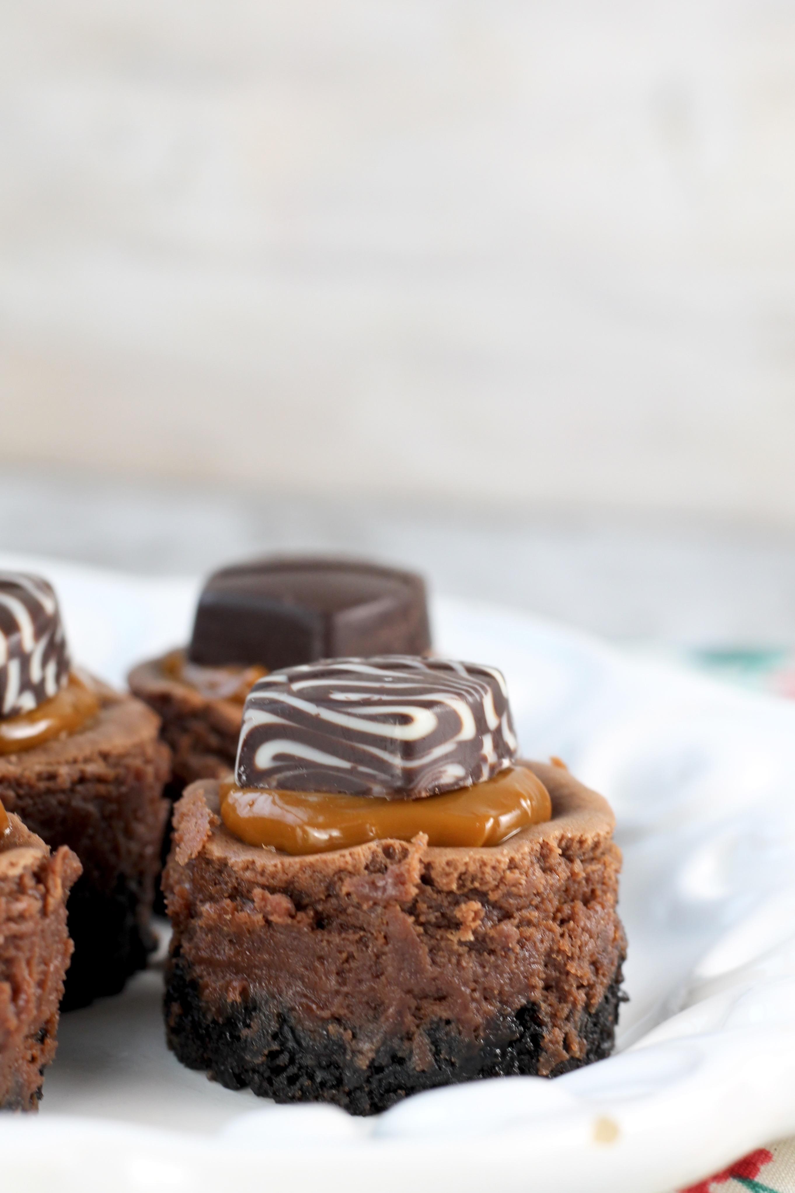 Mini Dove Cheesecakes with dulce de leche caramel