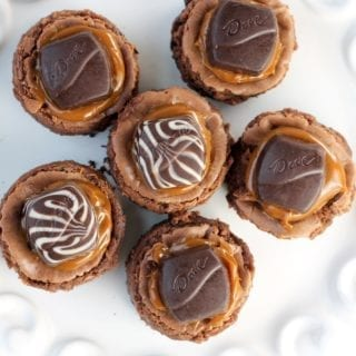 Mini Dove Cheesecakes with dulce de leche caramel and chocolate cheesecake