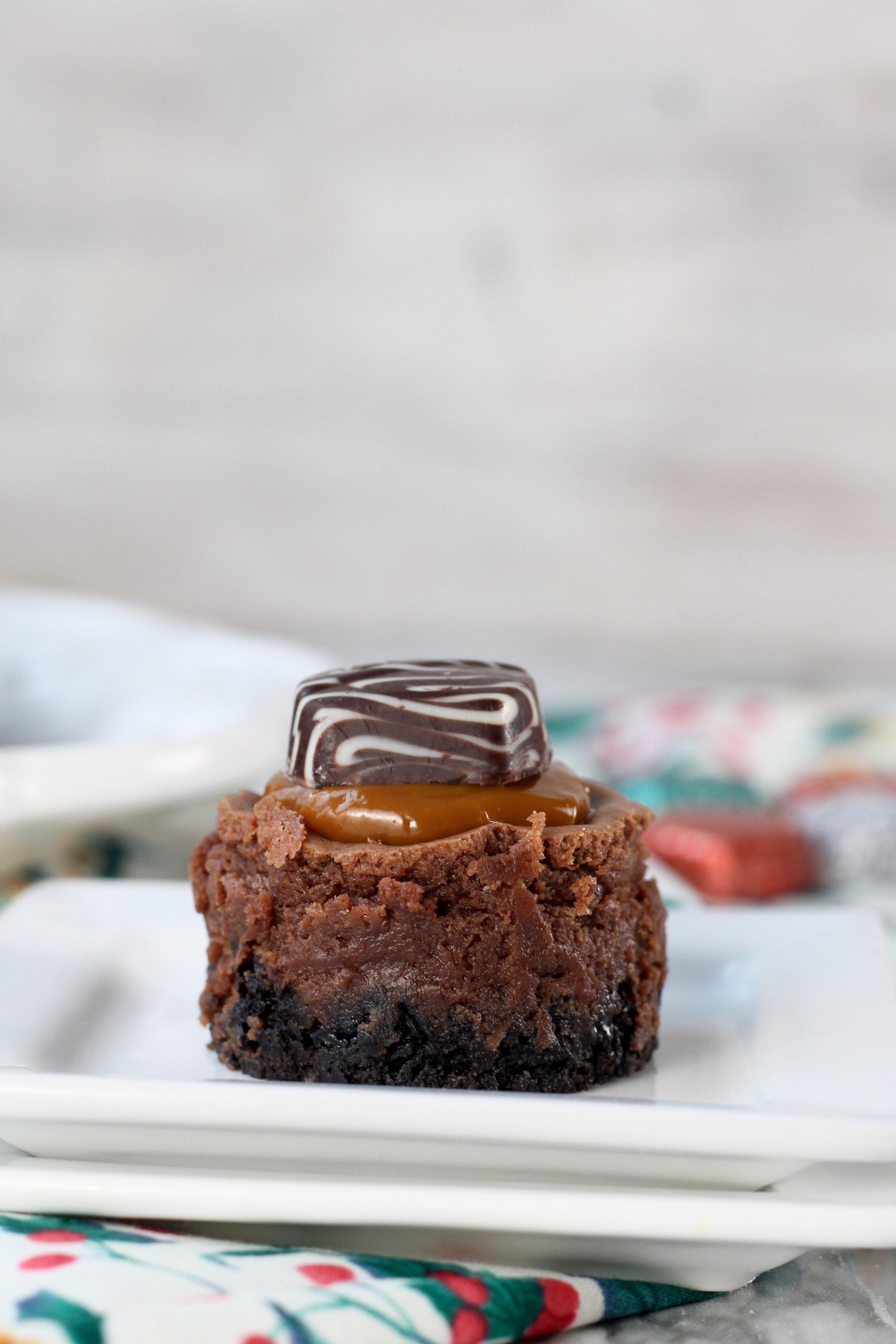 Mini Dove Cheesecake with dulce de leche caramel and chocolate cheesecake