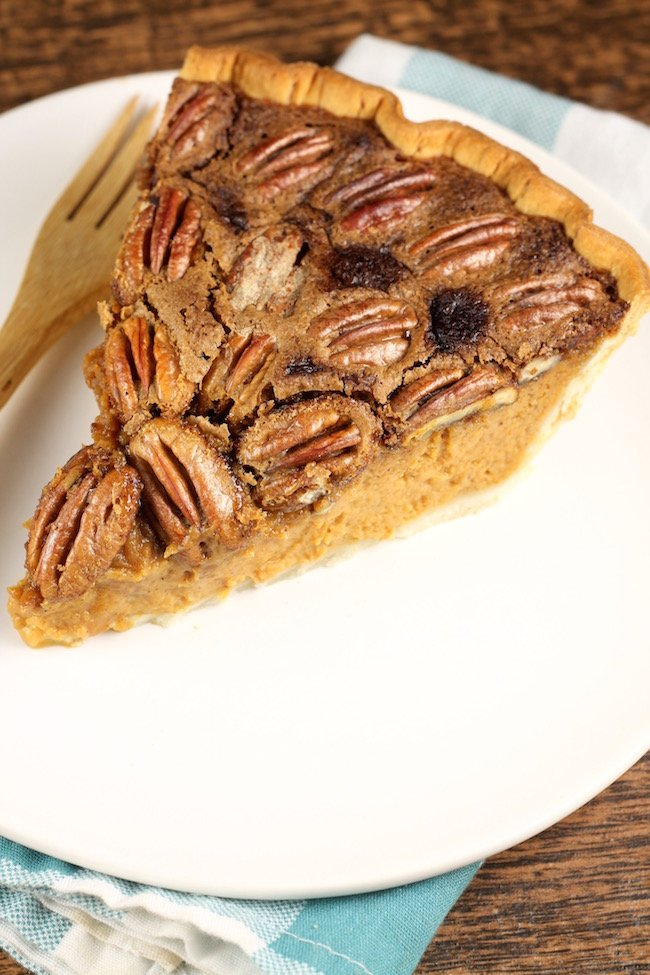 Easy Pumpkin Pecan Pie Slice