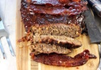 Easy Smoked Meatloaf with dr pepper barbecue sauce and bacon