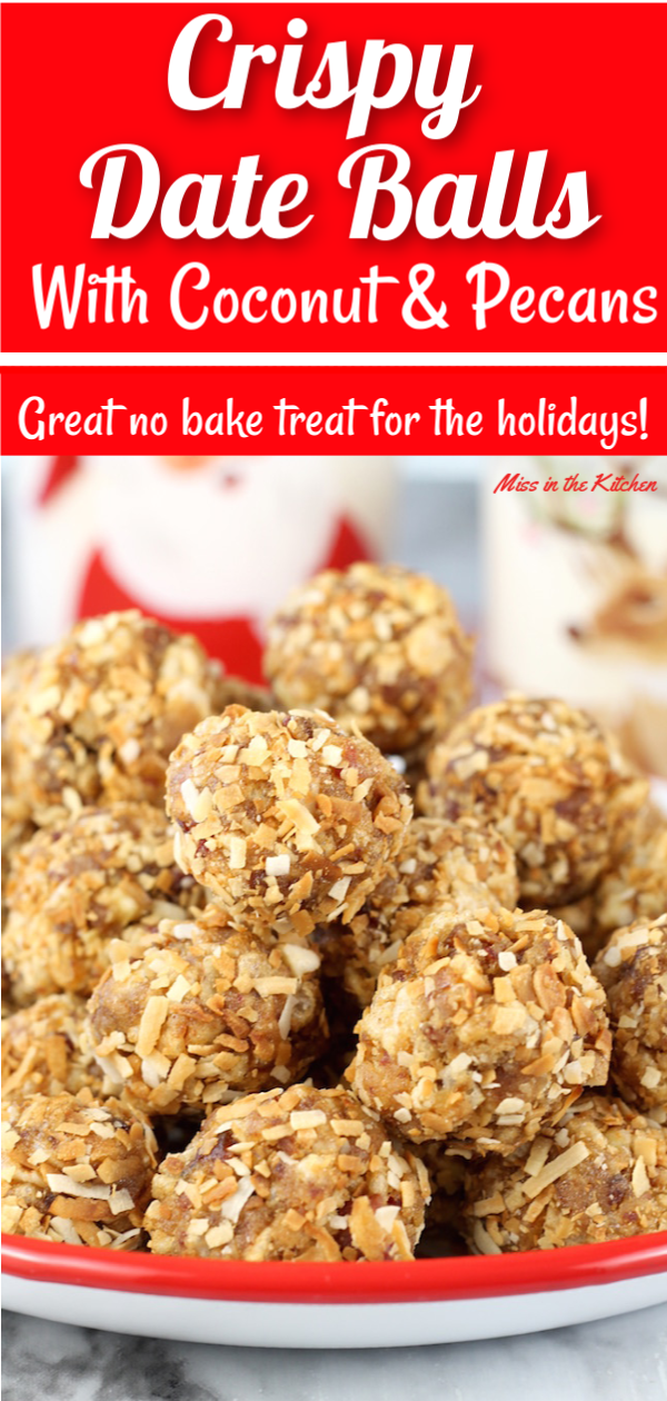 Easy No Bake Crispy Date Balls with toasted coconut