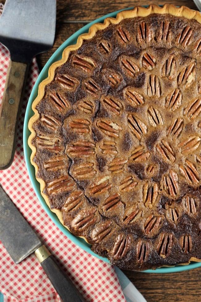 Pumpkin Pecan Pie with whole pecans