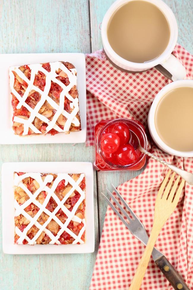 Cherry Almond Bars Recipe with Maraschino Cherries