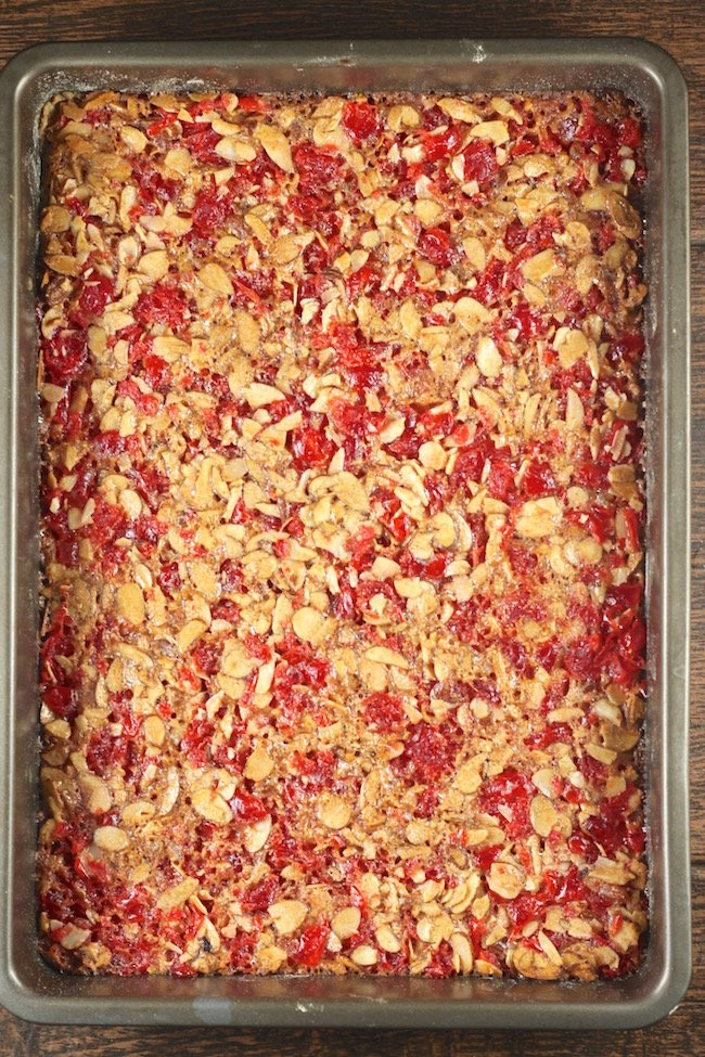 Cherry Almond Bars ready for the oven