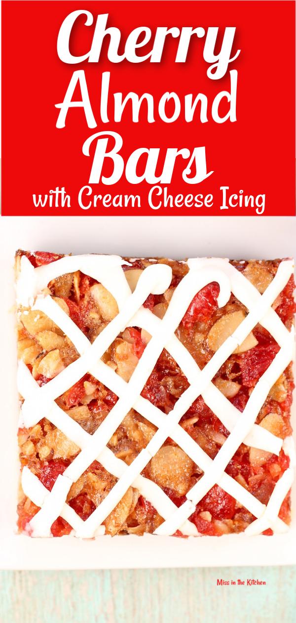 Cherry Almond Bars with maraschino cherries and cream cheese icing