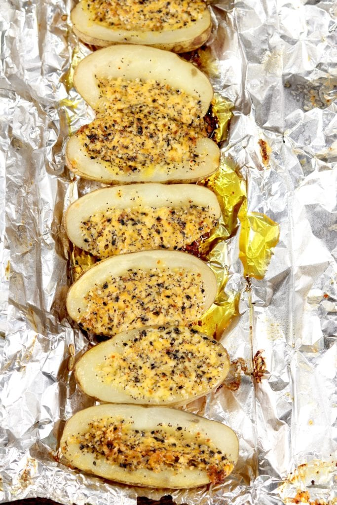 Foil packet grilled potatoes with cheese and bagel seasonings
