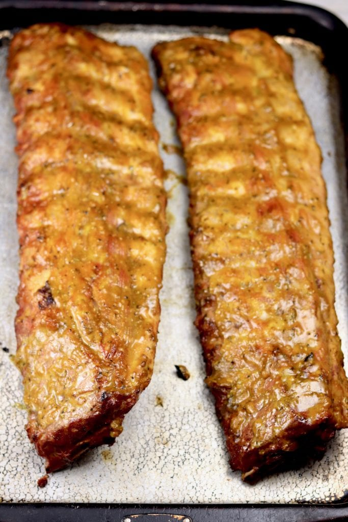 2 slabs of grilled mustard bbq ribs