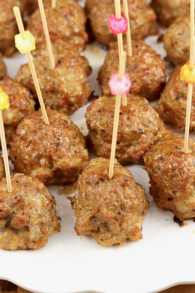 Meatballs on cocktail picks for appetizers