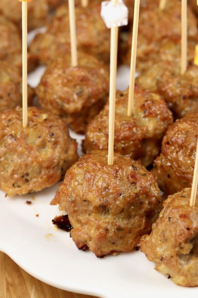 Smoked Cocktail Meatballs with appetizer picks