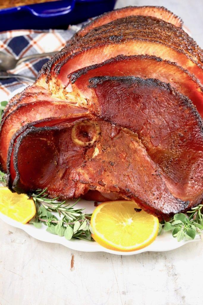Spiral Sliced Glazed Ham on a platter