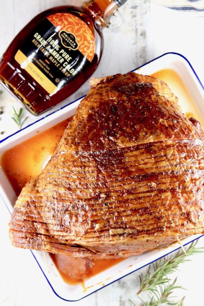 Maple syrup glaze over spiral sliced ham