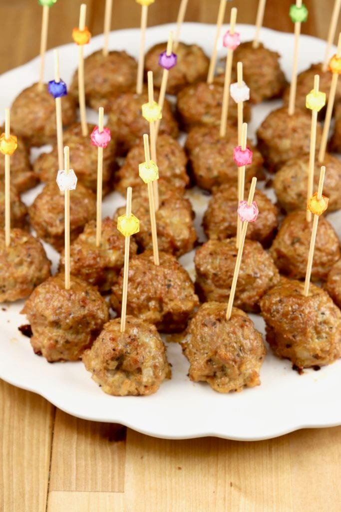 Platter of meatballs with party picks