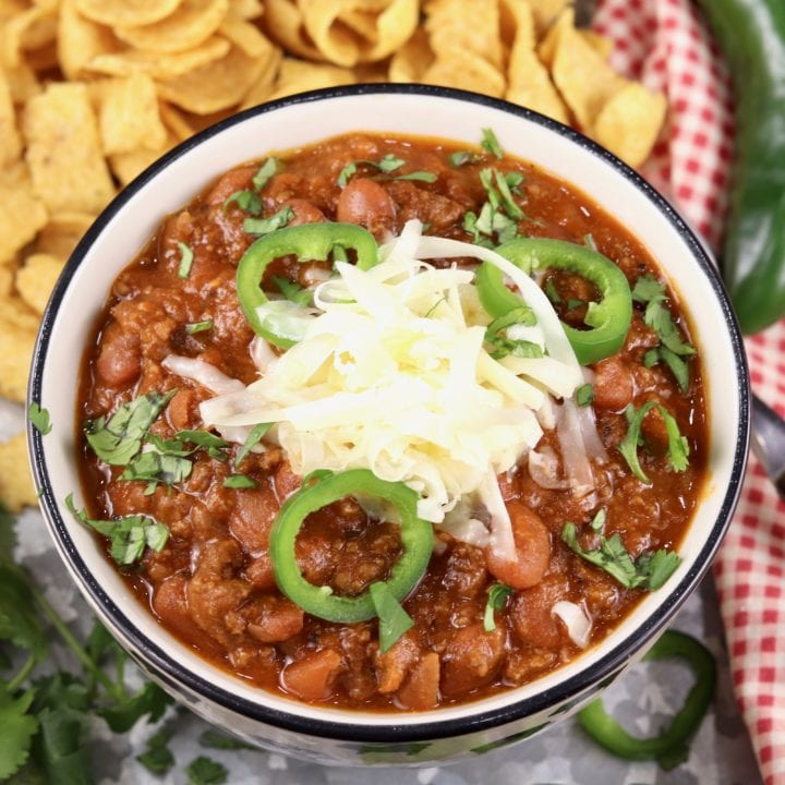 Chili With Ground Beef Pinto Beans Miss In The Kitchen